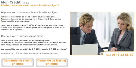 capture du site moncredit.ch