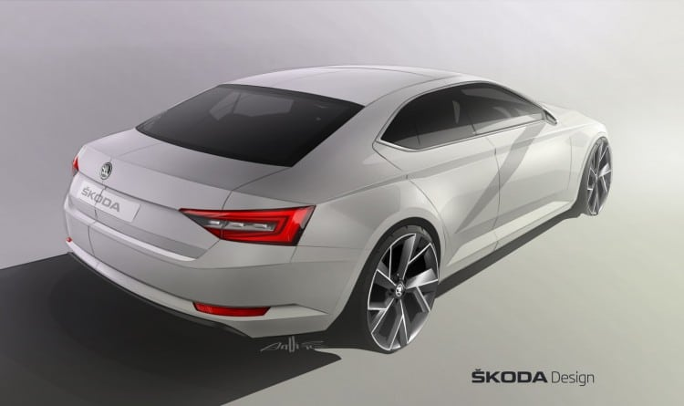 vue 3-4 arriere sketch Skoda Superb III